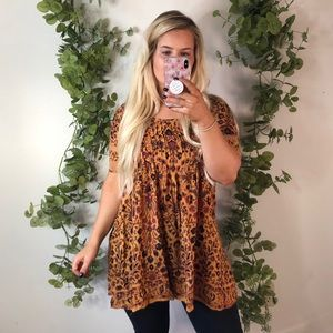 Urban Outfitters Mustard Floral Tunic S